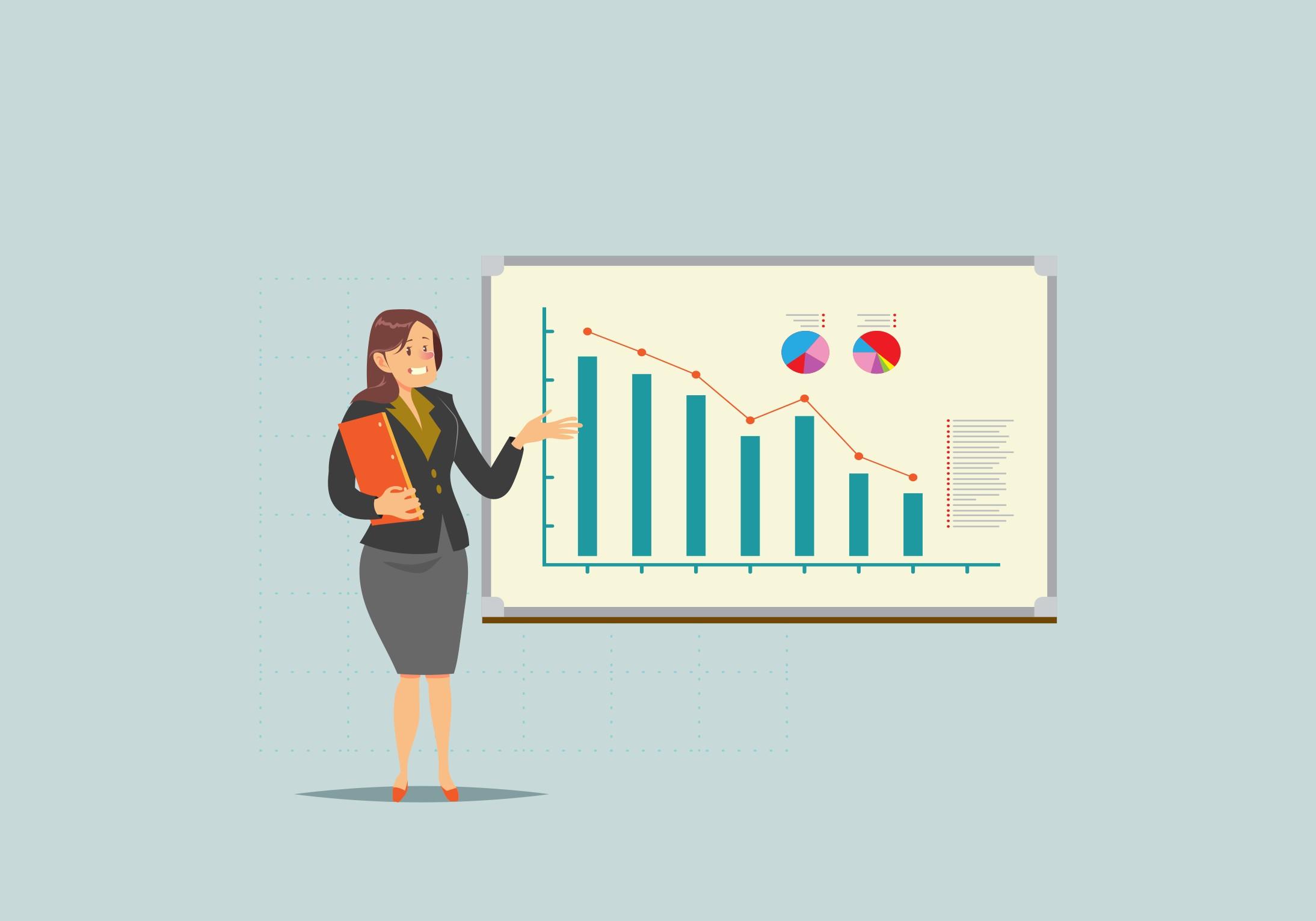 Презентация с падающим графиком